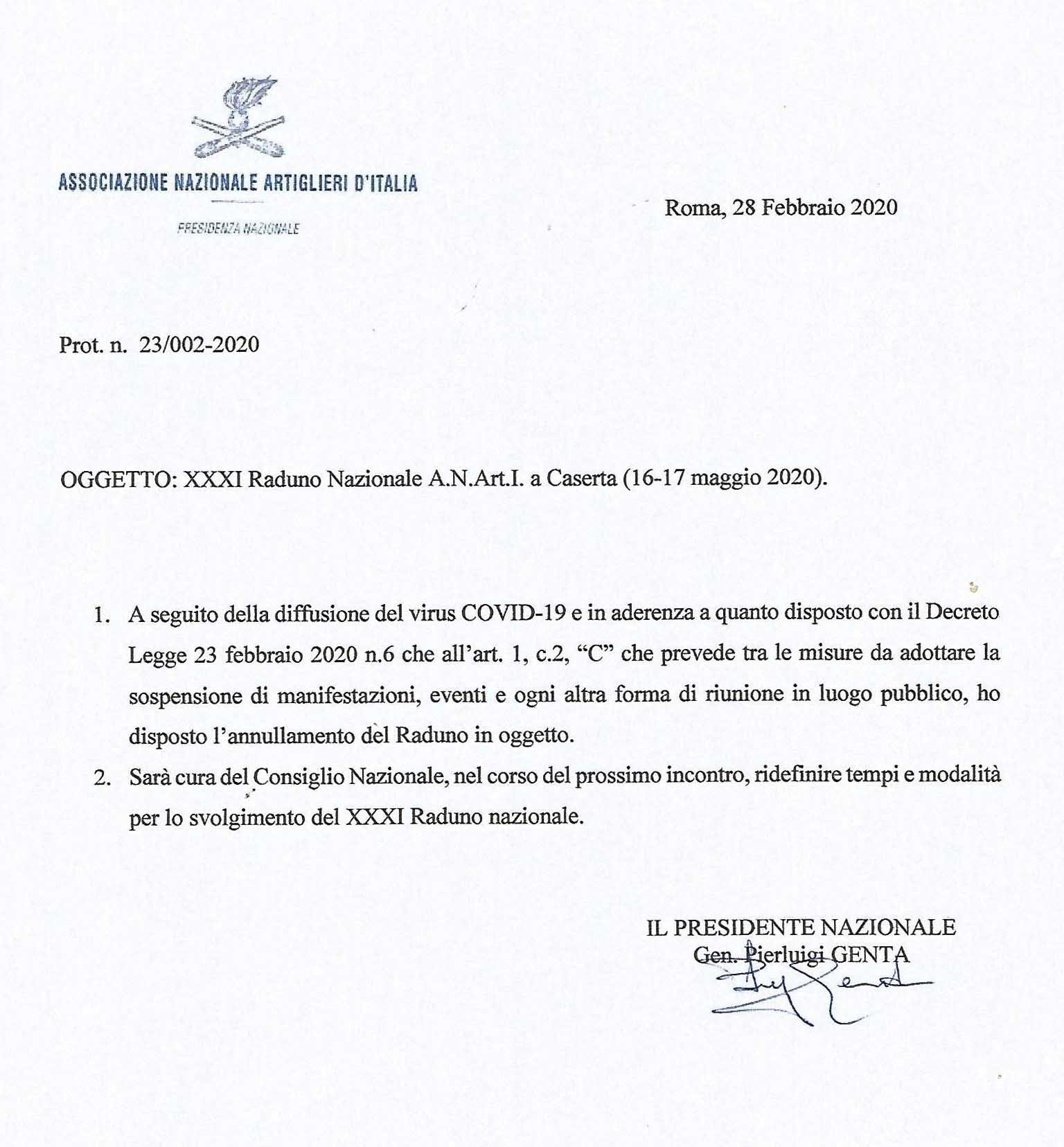 Comunicazione ufficiale annullamento Raduno