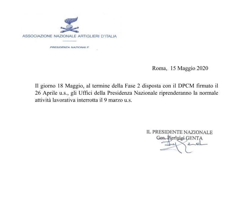 Riapertura uffici Presidenza