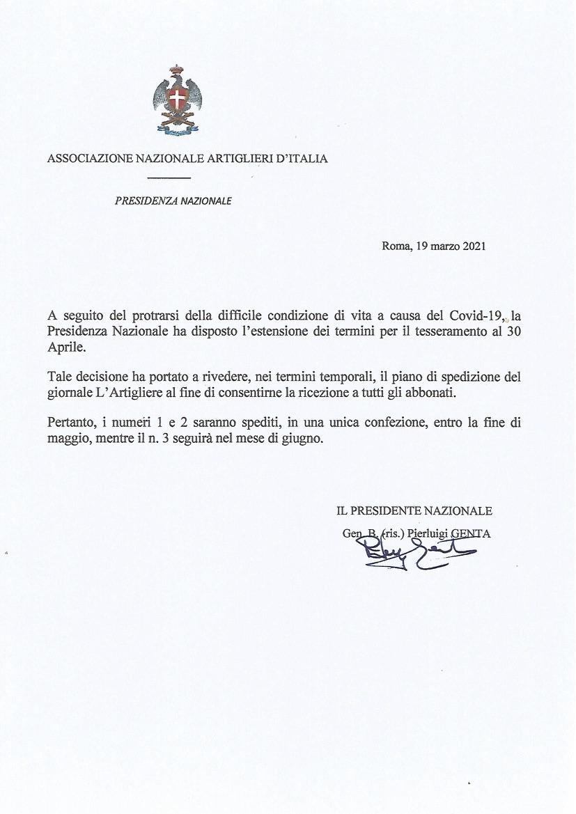 Comunicazione della Presidenza