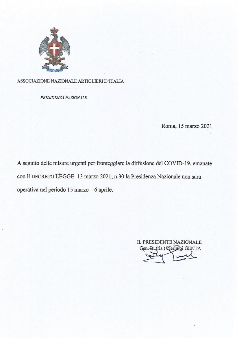 Operatività Presidenza Nazionale